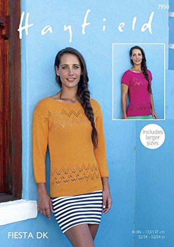 Amazon Hayfield Ladies Tops Fiesta Crochet Pattern 7950 Dk