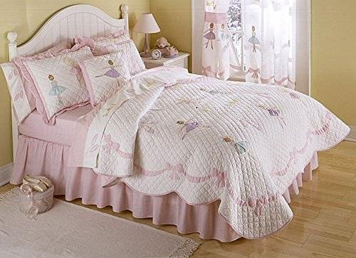 3pc Girls Light Pink Ballerina Theme Quilt Full Queen Set, Rose Pale, Pretty Girly Ballet Dance Lessons Bedding, Cute Fun Dancing Dancer Bordered Bow Themed Pattern