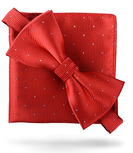 (Flairs New York Gentleman Essentials Bow Tie and Pocket Square Matching Set (Crimson Red [Glitter Dot Print]))