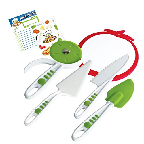 Real Kitchen Tools and Cookbook for Kids - Curious Chef 5-Piece Pizza Kit