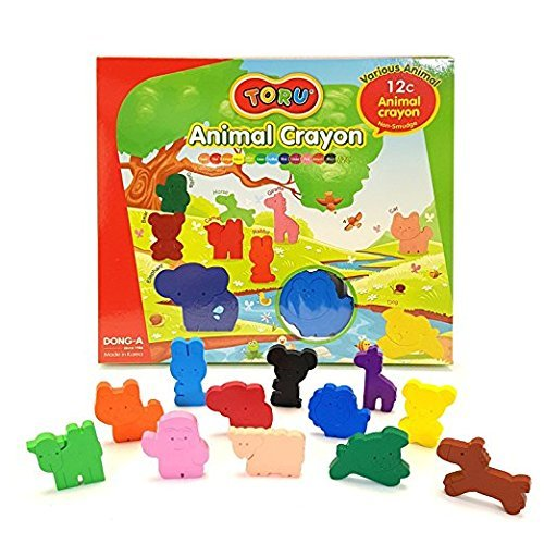 - Dong-a Toru Non-Smudge Animal Crayon for Kids 12 Colors & Various Animal Non-Toxic
