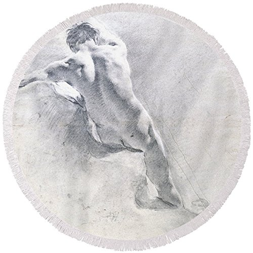 """Pixels Round Beach Towel With Tassels featuring """"Study Of A Male Nude"""" by Pixels"""
