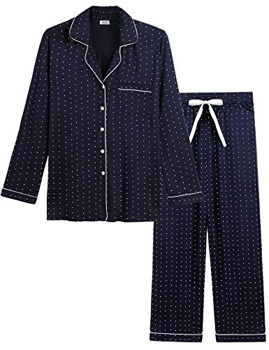 - Joyaria Womens Soft Bamboo Pajama Sets Button Down Long Sleeve Pj Pants Set Sleepwear (Polka dot-Navy,Medium)