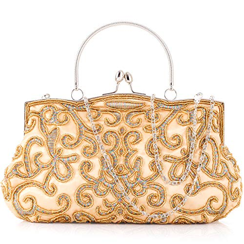 Women Clutch Evening Bag Elegant Classic Shoulder Bag Luxurious Handbag Purse (Gold AC)