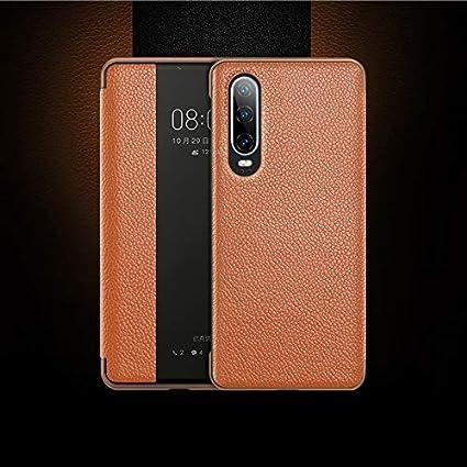 Weeksu Nueva Funda de Cuero con Tapa Horizontal de Grano Superior for Huawei P30, con función de contestador de Llamadas y Reposo/activación (marrón) (Color : Brown)
