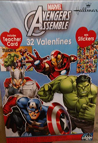 Marvel Avengers Assemble 32 Valentines with Stickers Includes Teacher Card (Valentines Day Marvel Box compare prices)