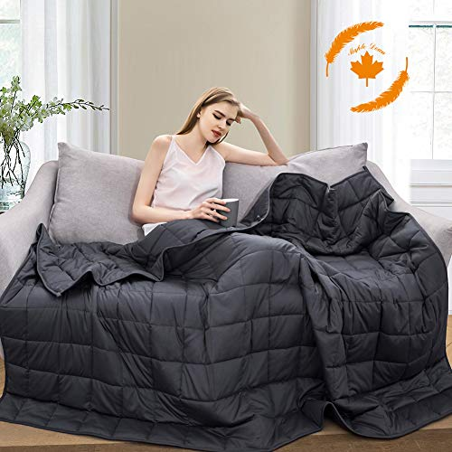 Maple Down Weighted Blanket 25 lbs | for Adult & Kids | King Size | 100% Cotton Material with Glass Beads | Bedroom & Living Room | 230lbs-280lbs(Dark Gray 80