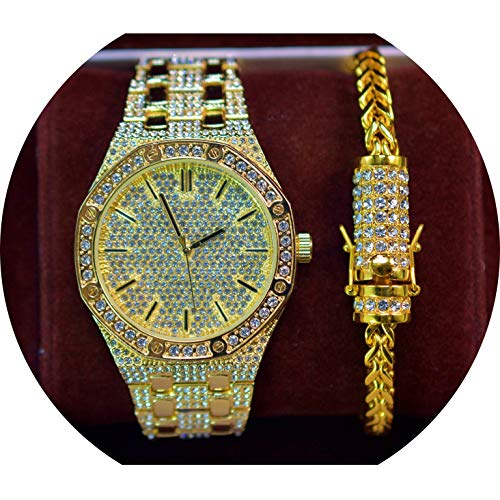 Men's Luxury Iced Out 14K Gold Plated Full Iced Out Metal Band Rapper's Bling Watch and Miami Cuban Bracelet (Bracelet Only) ()