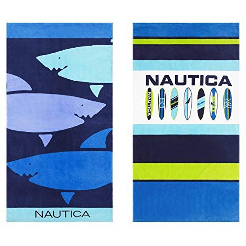 Nautica Shark Day/Surfboard Line Up Beach Towel Set 35 x 66