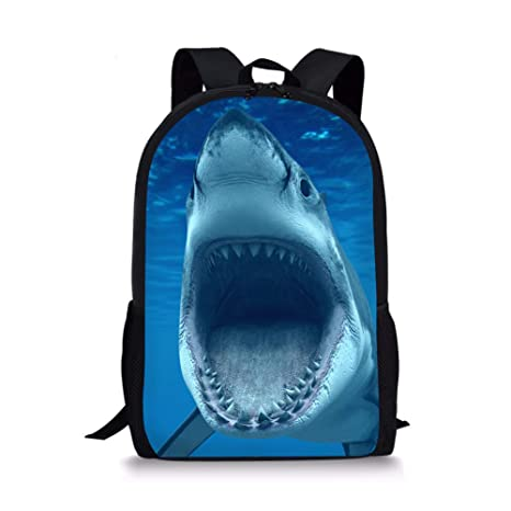 5cd554023a66 Xinind Cool 3D Shark Print Children School Book Bag Printing Kids Backpacks  Boys Bag (shark 11)