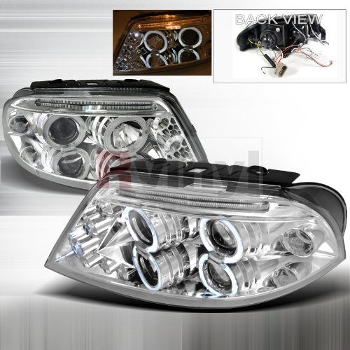 Spec-D Tuning LHP-PAS01-TM Volkswagen Passat Chrome Dual Halo Led Projector (05 Vw Volkswagen Passat Headlight)