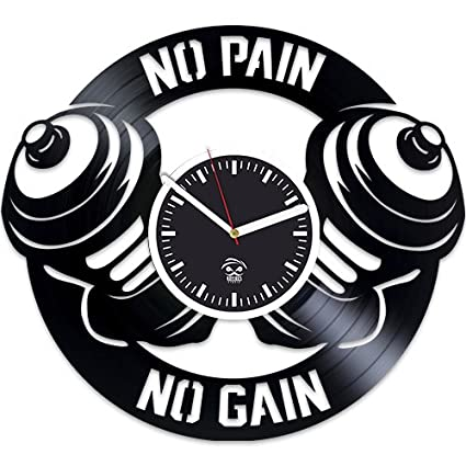 Gym Vinyl Record Wall Clock Large Gift For Girl Sport