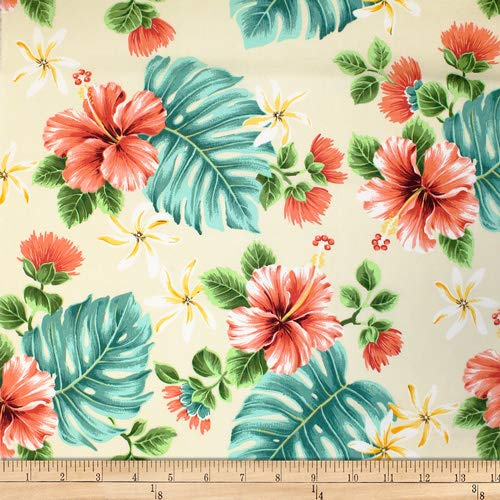 - Trans-Pacific Textiles Hawaiian Lehua Hibiscus Beige, Fabric by the Yard