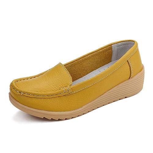 Zapatos Bajos De Las CuñAs De Las Mujeres Zapatos Antideslizantes De Los Holgazanes De Cuero Mocasines CóModos Madre Solida SeñOra Calzado Ocasional De Las ...