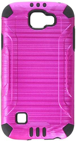 HR Wireless Slip Armor Combat Brushed Metal Design Hybrid PC TPU Case for LG K3 - Hot Pink/Black