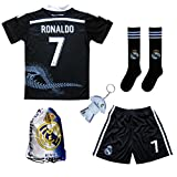 GamesDur Real Madrid RONALDO #7 Black Dragon Soccer Kids Jersey & Short & Sock & Soccer Bag Youth Sizes (5-6 Years)