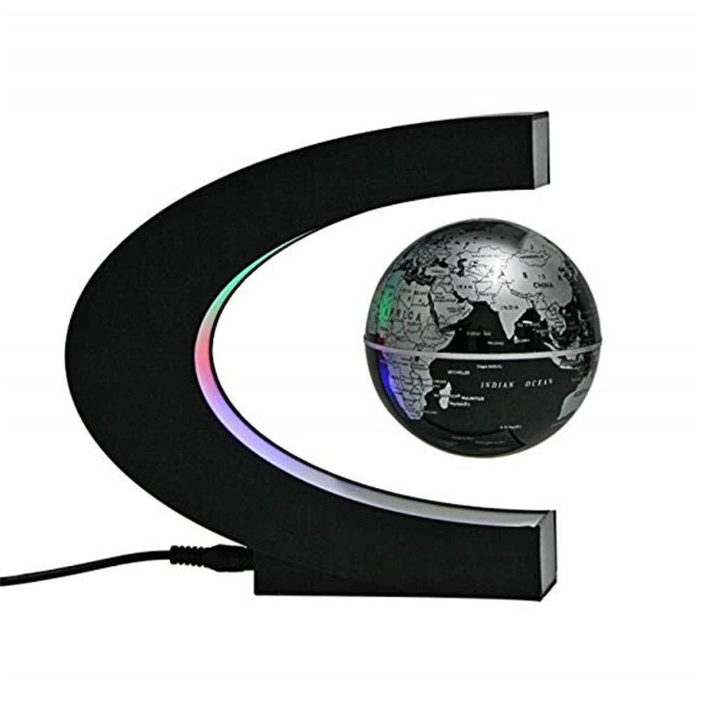 Globo galleggiante Mappa globo, levitazione magnetica fluttuante mappa del mondo globo con luci a LED per l'apprendimento insegnamento o decorazione scrivania (forma c + globo) per bambini / regalo /