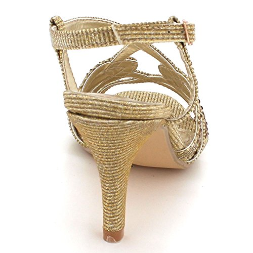 Strap Evening Crystal AARZ Gold Wedding Party Sandals High Womens Shoes Diamante LONDON Ankle Bridal Sparkly Heel Ladies Prom Size wwIC7Yq