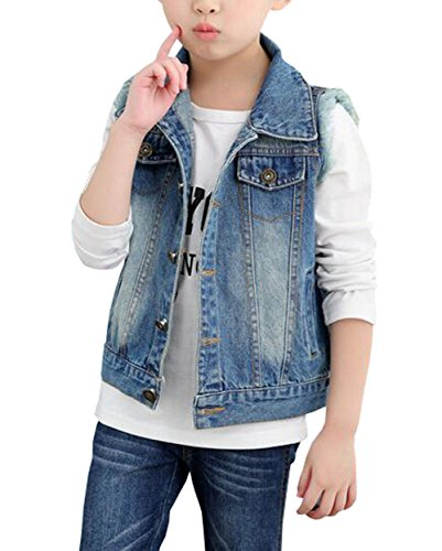 MYtodo Girls Lapel Vest Children Short Section Sleeveless Denim Jacket (4-5 Years) by MYtodo Vest
