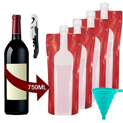 750ml Portable Wine Bottle Bag, Foldable Wine Pouch, Reusable Collapsible Leak Proof Flask Holder for Wine Liquor Beverages, Camping/BBQ/Party/Beach/Hiking, 4 Bags with bottleopener and funnel