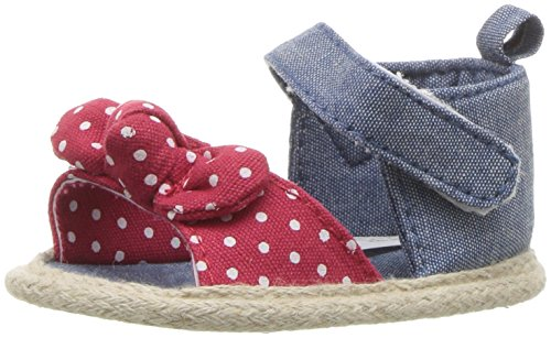 Luvable Friends Girls' Bow Sandal Crib Shoe, Red Bow, 6-12 Months Child US Infant