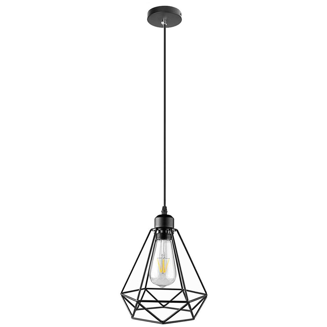 Lightess Hanging Pendant Lights Industrial Edison Barn Light Diamond Cage Black Farmhouse Ceiling Lighting Fixture 1-Light