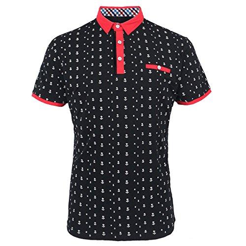 Tanbridge Men's Short Sleeve Polo Shirts Classic Printed Cotton Shirts Black Medium