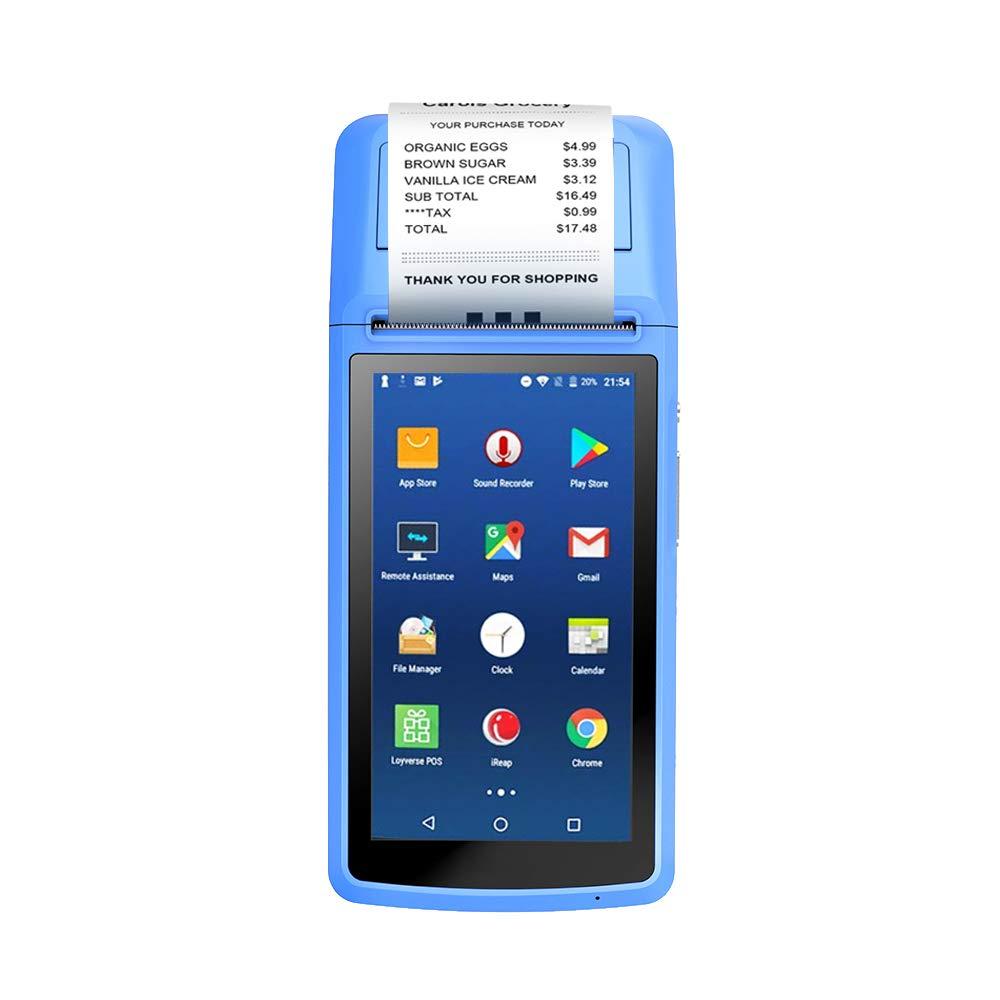 Grborn MHT-M1 POS Terminal Support Android 6.0 OS Impresora de Recibos con 2.4G WiFi BT y c/ámara Pantalla LCD de 5 Pulgadas 5MP Auto Focus Enchufe de la UE