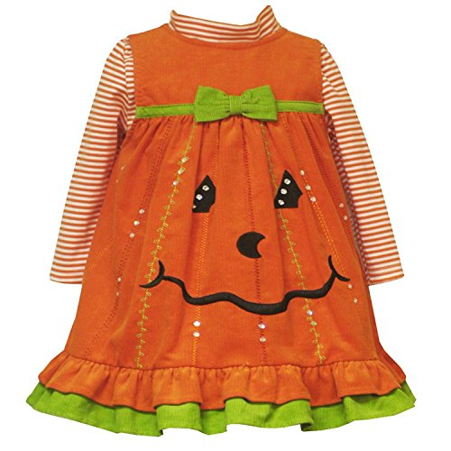 Rare Editions Baby Girls Newborn 3M-24M Orange Sequin Pumpkin Corduroy Jumper Dress (6 Months, Orange)