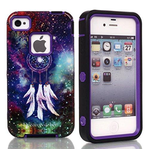 iPhone Case 5C, Lantier Dream Catcher Muster 3 in 1 Entwurf [Shockproof] [Heavy Duty Auto] [Robuste Gummi Combo] Case Schutzhülle für Apple iPhone 5C Lila