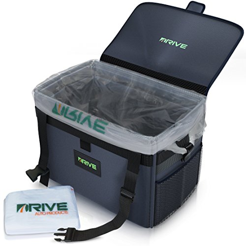 The DRIVE Bin XL - Best Large Car Trash Can for Litter, Takes Grocery Bag Size Disposable Liners, 10-Piece Starter Pack Included! Recycle Auto Garbage Kit is Waterproof, Makes a Great Cooler & Gift - Grocery Can Bag Trash