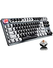 Bluetooth Mechanical Gaming Keyboard with LED Backlit 87 Anti-Ghosting Key Ergonomic Metal Plate Wired/Wireless USB Receiver Rechargeable 3300mAh Battery for PC Mac Gamer (Black Gray/Brown Switch)