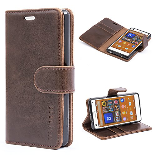 Sony Xperia Z3 Compact Case,Mulbess Leather Case, Flip Folio Book Case, Money Pouch Wallet Cover with Kick Stand for Sony Xperia Z3 Compact,Coffee Brown
