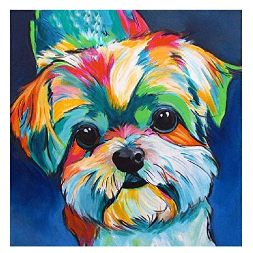 DIY 5D Diamond Painting Kits, Crystal Rhinestone Diamond Embroidery Paintings Pictures Arts Craft for Home Wall Decor, Full Drill(Dog, 16x16inch)