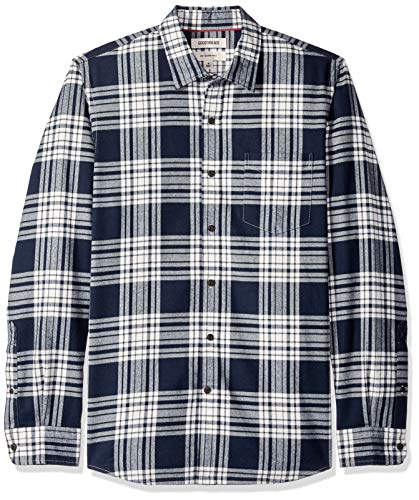 Goodthreads Men's Slim-Fit Long-Sleeve Brushed Flannel Shirt, Navy White Plaid, X-Large