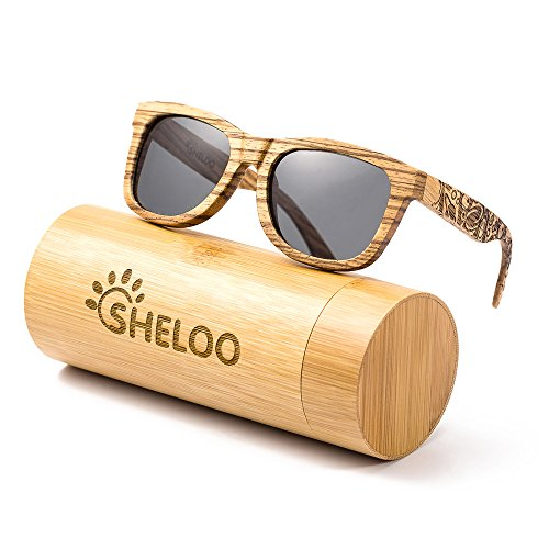 SHELOO Zebra Wood Polarized Sunglasses Retro Style 100% UV Protection Wooden - Wooden Sunglasses Best