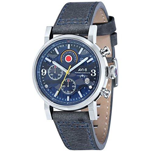 AVI-8 Men's 'Hawker Hurricane' Quartz Stainless Steel and Leather Aviator Watch, Color:Grey (Model: AV-4041-07)