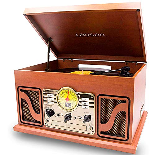 LAUSON CL506 Vintage Record Player with CD Player | Turntable 3-Speed with Stereo Speakers | USB Encoding | Retro Cd Player | Old Radio | Natural Wood (Antique Vinyl Record Player)