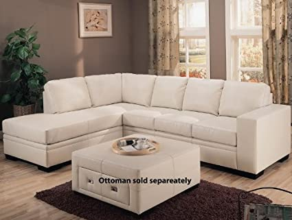 Amazon.com: Amanda Left L-Shaped Sectional Sofa in Cream ...