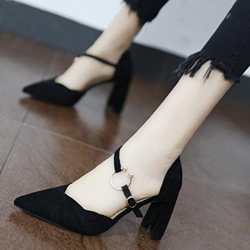 Xue Qiqi Corte los zapatos La simple rugosa sugerencia de rosa zapata rugosa simple anillo metálico elegante correa ranurada high heels Negro,39, 378e92