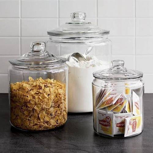 Anchor Hocking Heritage Hill Clear Glass Cookie Jar Set in 3 Sizes.