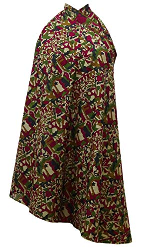 Indianbeautifulart Vintage Saree rversible Femmes Maxi Human Imprimer Wrap Beige et Vert Olive