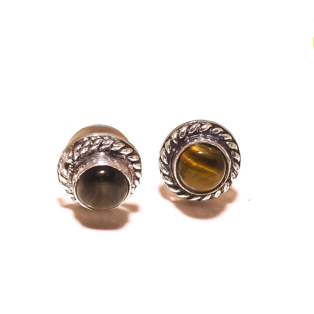 Handmade Jewelry Fabulous Brown Tiger Eye Sterling Silver Plated Stud// Earring 10 mm