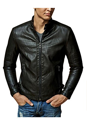 XINISI Young Men PU Leather Jacket Men Motorcycle With Stand Collar and Down for Winter and Autumn Black