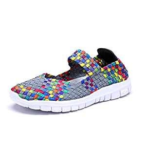Kangwoo Women's Breathable Water Shoes Elastic Handmade Woven Sneakers Rainbow US 8.5