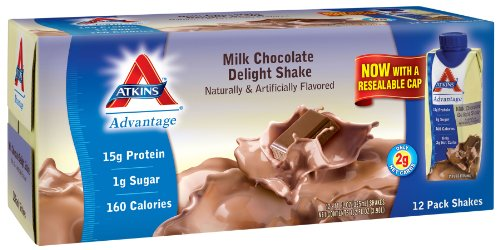 Atkins Ready To Drink Shake, Milk Chocolate Delight, 11-Ounce Aseptic Containers (Pack of 12), Health Care Stuffs
