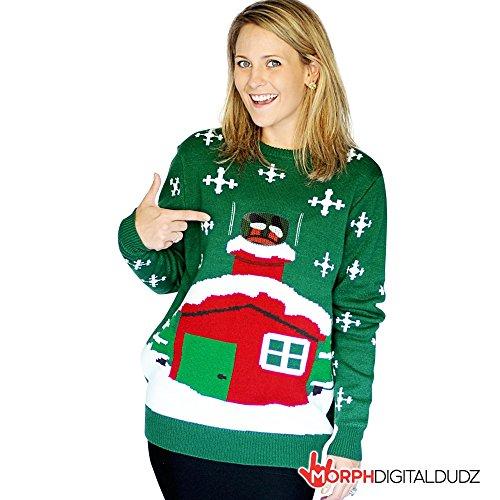 [Digital Dudz Stuck Santa Digital Christmas Sweater - size Xlarge] (Mince Pie Fancy Dress Costume)