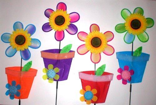 Wholesale Lot 15 Jumbo Garden Yard Lawn Wind Spinners Pinwheels Pin Wheels Flower + Pot