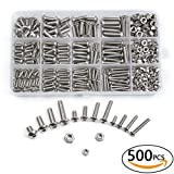 Urlwall 500 Pcs M3 M4 M5 Button Hex Socket Head Cap Screws Bolts and Nuts Assortment Kit, 304 Stainless Steel Metric Allen Hex Drive, Machine Grade Thread Set Screw and Nut Fastener with Box