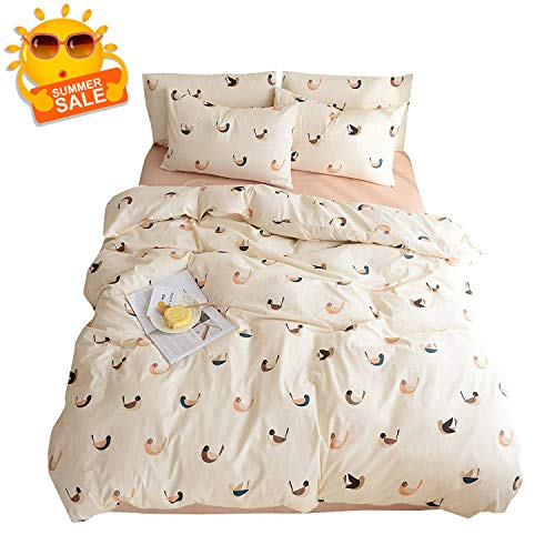 BuLuTu Bird Queen Duvet Cover Girls Cotton Beige with Zipper Closure,3 Pieces Lightweight Love Bird Print Bedding Sets Full for Kids Teen Women,Soft,Modern,Reversible,No Comforter (Organic Cover Loop Duvet)